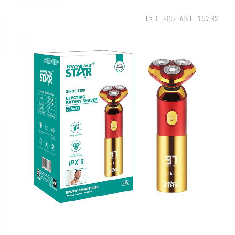 ST-5683 New Arrival WINNING STAR DC5V 1000mA 3W ABS+POM UV Double-Ring Floating 3-Blade Rechargeable Electric Shaver Rotary Razor with ICR14500 Battery 600mAh IPX6 Waterproof Digital Display Travel Lock Battery Display Charging/Washing Remi