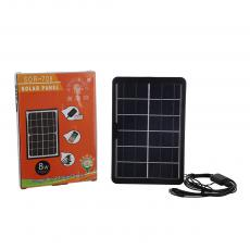 SOR-709 New Arrival 6V/8W Polycrystalline Solar Panel with Handle 3m 5 in 1 V8/Lightning/Micro/TYPE-C/DC3.0 USB Charging Wire