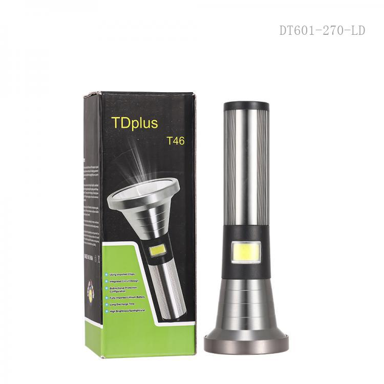 T46 Hot Sale Super Light Rechargeable  COB 3W  Aluminum Flashlight Torch   with  1500 mAh Battery  3 Steps  Switch USB Charging Cord.