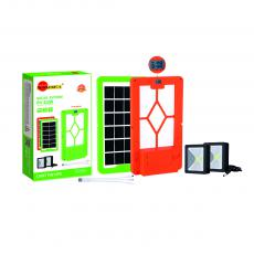 SA-7854 New Arrival SUN AFRICA ABS Solar System with 6V/3.5W Polycrystalline Solar Panel USB/V8/DC*3 Port 18650 Battery 3000mAh 2*3W COB Square Lamp 3 in 1 Charging Wire Time Display