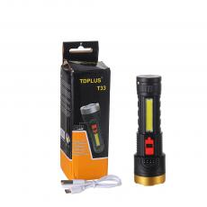 T33 New Arrival Lithium Battery Flashlight with COB+3030 Lamp Bead Imitation Aluminum Cup 4 Step Button Switch Power Indicator Light 18650 Battery 1200mAh V8 Port USB Charging Line