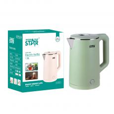 ST-6007 Winning Star Electric Kettle with French European Plug  3-Layer UV Corrugated AC 220V-240V, 50Hz/60Hz Voltage 1500W Crimping Pot Stainless Steel Power 0.5㎡National Standard Butt Welding Single Gold 3 Piece Temperature Control Copper