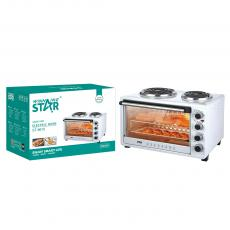 ST-9615 New Arrival WINNING STAR 220V2000W 45L Electric Convection Oven with 100-250℃ 5-Heating Mode 3 Timer Work Indicator Light Pan Rack Roast Rack Tray Clamp VDE Plug