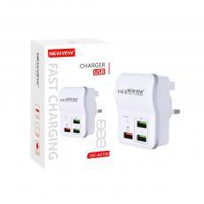 NV-A0106 New Arrival NEWVEW ABS 5V/2A 9V/1.67A  12V/1.25A Power Adapter Charger with USB*3 BS Plug