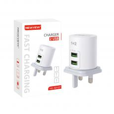 NV-A0107 New Arrival NEWVEW 2A Power Adapter Charger with USB*2 BS Plug