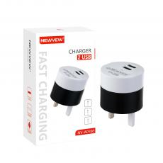 NV-A0108 New Arrival NEWVEW 2A Power Adapter Charger with USB*2 BS Plug