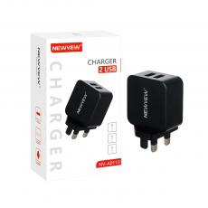 NV-A0110 New Arrival NEWVEW 2A Power Adapter Charger with USB*2 BS Plug