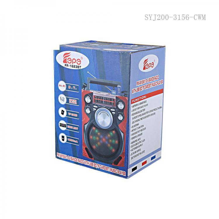 FP-1623BT Radio with colored box FM/AM/SW1-2/USB/TF/SD