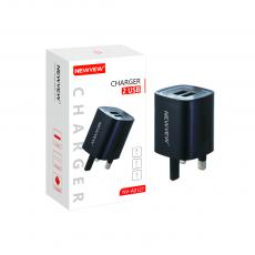 NV-A0127 New Arrival NEWVEW 2.4A Power Adapter Charger with USB*2 BS Plug