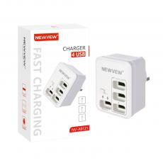 NV-A0121 New Arrival NEWVEW PC 15W Power Adapter Charger with USB*4 BS Plug Switch Fast/Normal Charge