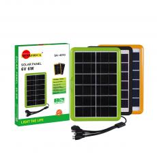 SA-4010 New Arrival SUN AFRICA 29*19.7*1.5cm 6W/6V Solar Panel with Plastic Frame 2.5m 5 in 1 DC5.5V/6101/V8/V3/USB Cable