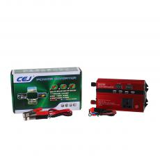 CJ-DDS600 New Arrival DC12V-AC220/240V 50/60hz 600W Digital Display Solar Power Inverter with 2 Clips Circuit Protection Function USB Port*4