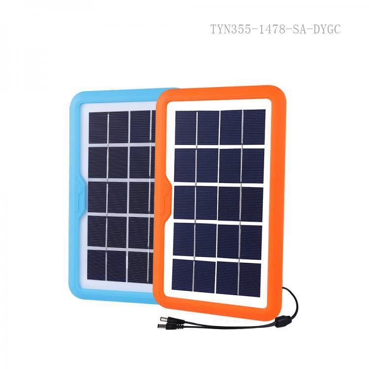 SA-7799 SUN AFRICA New Style 5V 3.5W Poly Crystaliance Solar Energy System with 2 DC Stocket 2 Pc 5 V ABS  LED 1 Pc Milky 7.6CM ɸ Circle Tube  800mA Acid Storage Battery   USB Sokct 3 Hubs  3 Step Switch