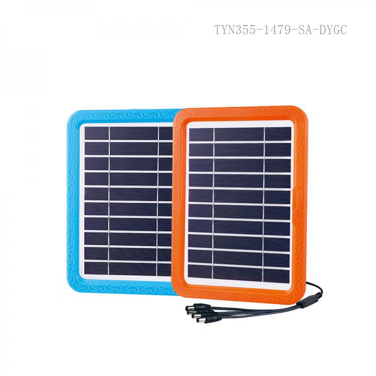 SA-7800 SUN AFRICA New Style  5V 5W Poly Crystaliance   Solar Energy System with  4 DC Socket  4 Pcs 5V ABS Led Bulb 1 Pc F8  7.6 cm ɸMilky Circle Tube  800 mA Acid Storage Battery  USB Socket 3 Step Switch