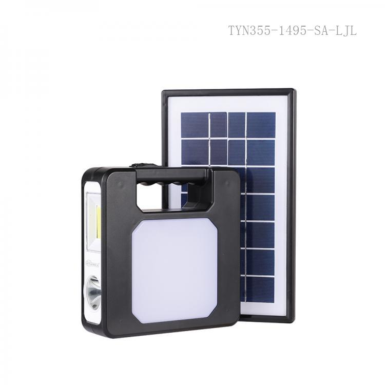 SA-7803  SUN AFRICA New Arrival Solar Energy Home Lighting  System  with 7.V 3.5W  25.5*15cm Polycrystaliance Solar Panel  17*17*5cm Main Solar Host with COB 52 Pc 2835 SMD Side Lamp 4 Pcs Led Bulbs 6000 mAh Lithium Battery 3 Meters Powerco