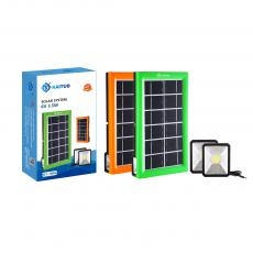 KT-7846 New Arrival KAITUO ABS F8 Lamp Bead Solar System with 6V/3.5W Polycrystalline Solar Panel 2.7m Switch Wire COB*2 Battery 2400mAh USB/V8/Bulb*2 Port 4 In 1 Wire