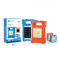 KT-7849 New Arrival SUN AFRICA 5W ABS COB+1W Light+ 15*5730 Lamp Bead Side Light Solar System with 5V/2.5W Polycrystalline Solar Panel USB/V8/Bulb*3 Port 2*Square COB Battery 2400mAh 3 In 1 Wire