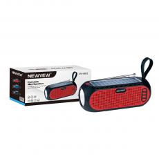 NV-8812 NEWVEW New Arrival DC 5V 1200mAh Rechargeable Speaker with 3W Flashlight  52mm 4 Omh 7W Horn 6V 1W Solar Panel  Performance of Bluetooth/USB/TF/AUX/FM