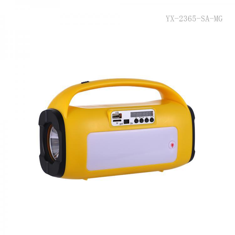 SA-8830 New Style  DC 5V   Rechargeable 66MM  3 Omh 3W Speaker with  Solar Panel 1200 mAh Lithium Battery  More Performance for Bluetooth/TF/USB/AUX/FM/ USB Charging Cord