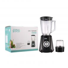 WST-607G  WST-607G Winning Star  Hot Sale High quality Stainless Steel Housing 2in 1  1.5L 400W Fruit Juicer Blender  with Glass Jug Grinder Cup Copper Motor  VDE Plug for Home