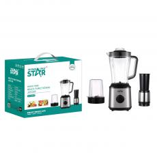 ST-5504 Stainless steel housing waterproof moistureproof 3 in 1 Fruit Juicer Blender Grinding for food processor with Large PC jug, 6 blads 7025 full cooper moter overheating protection