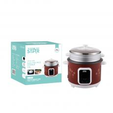 ST-9307 WINNING STAR Straight Rice Cooker 1.8L, 700W, AC 220-240V, 50/60HZ, 0.28MM Iron Shell, 280G Aluminum Inner Pot, Non-Stick Oil Coating Inside,  SS Steamer, 350G Circulation Heating Plate 0.25MM Thickness Mid Housing. BS Plug. Copper
