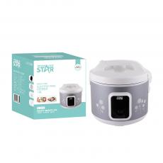 ST-9310 WINNING STAR Delux Rice Cooker 1.8L, 700W, AC 220-240V, 50/60HZ, 0.28MM Iron Shell, 280G Aluminum Inner Pot, Non-Stick Oil Coating Inside,  SS Steamer, 350G Circulation Heating Plate 0.3MM Thickness Mid Housing. BS Plug. Copper Wire