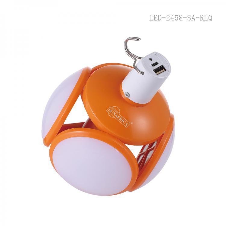 SA-616 SUN AFRICA  Hot Sale DC12V  Led  Foldable UFO Rechargeable  Lamp  with104 Pcs 2835 SMD 3600 Lumen USB /V8 Socket 4 Step Switch 4 pcs 7CM ɸ Lamp Ball