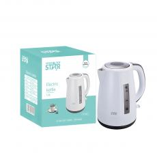 ST-6002 1.7L New Design 304# SS Electric Kettle with Detachable washable filter overheat protection Double Crystalian Control Automatic Shut off Switch Anti-Dry Burning Protection Copper Cord PP material Outlayer