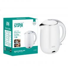 ST-6001 1.8L New Design SS Electric Kettle with Detachable washable filter overheat protection Double Crystalian Control Automatic Shut off Switch Anti-Dry Burning Protection