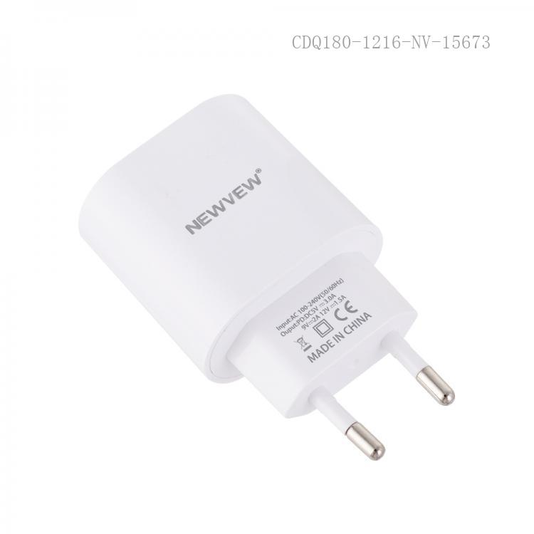 NV-A0006 New Arrival NEWVEW Power Adapter Charger with TYPE-C Port Round Plug