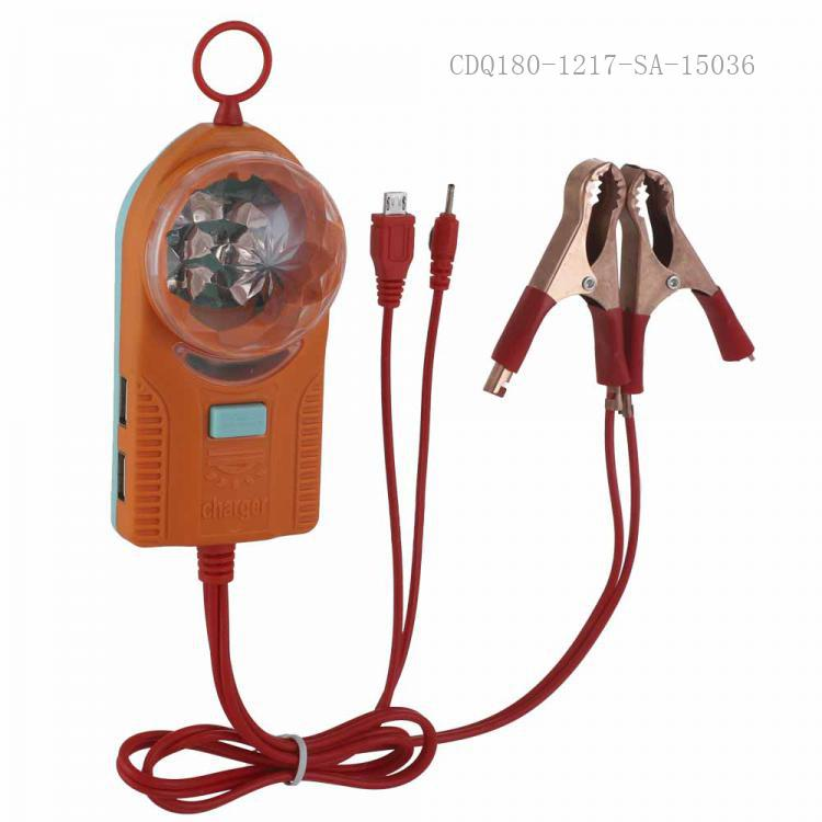 SA-9042 New Arrival SUN AFRICA ABS+PC Clip Charger with 4*USB 1m 2 In 1 8600/6101 Wire 2*50A Copper Plated Clip Color Flashing Light+Flashlight