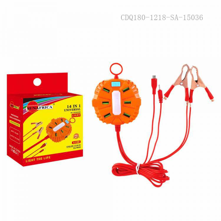 SA-9043 New Arrival SUN AFRICA ABS+PC Clip Charger with 6*USB 2m 2 In 1 8600/6101 Wire 2*50A Copper Plated Clip Flashlight
