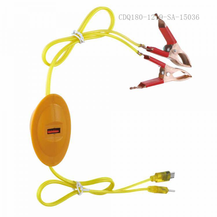 SA-9044 New Arrival SUN AFRICA ABS+PC Clip Charger with 1*USB 0.8m 2 In 1 8600/6101 Wire 2*30A Copper Plated Clip