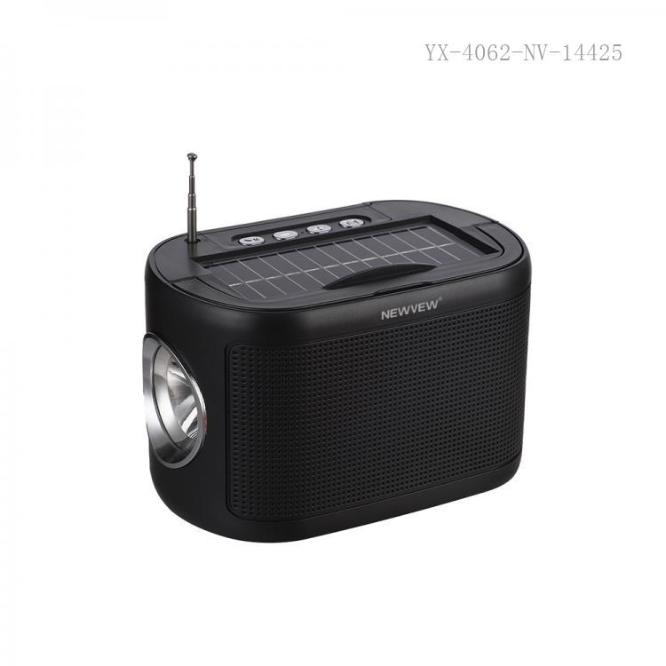 NV-8923 New Arrival NEWVEW ABS Portable Mini Speaker with Bluetooth/USB/TF/FM/MIC/DC5V/Hands-Free Call External Antenna Solar Panel Flashlight Lithium Battery 1200mAh USB Charging Wire