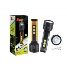 SA-S20 New Arrival SUN AFRICA Aluminum Alloy + ABS Rechargeable Lithium Battery Flashlight with 3W OSL+3W COB*3 18650 Battery 1200mAh 4 Step Button Switch MICRO Port USB Charging Wire