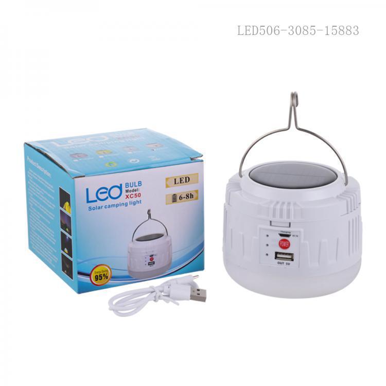XC50 New Arrival 50W LED Solar Camping Light with 50*2835 Lamp Bead 18650 Lithium Battery 1200mAh*3 DC5V/Micro/USB Port 4 Step Button Switch Data Line