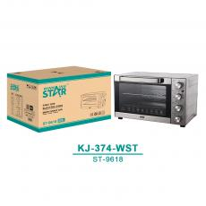 ST-9618 New Arrival WINNING STAR 220V-240V 2400W 80L 430 Stainless Steel Electric Oven with 60min Timer/70-250℃ Temperature/Rotation/Multi-Function Control Knob Baking Pan Roast Rack 1m Power Cable VDE Plug
