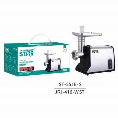 ST-5518 New Arrival WINNING STAR 550W Electric Meat Grinder Sausage Stuffer Maker with 9930# Copper Motor 3mm/5mm/7mm Grinder Plate Sausage Stuffer Tube Copper Power Cable BS Plug